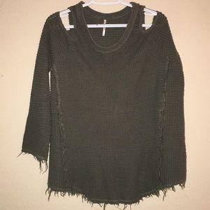 Free People cut out shoulder knit sweater. Size M